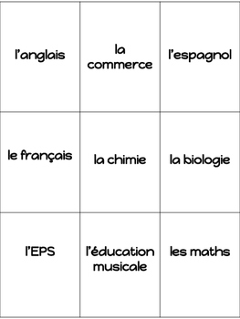 Go Fish (Les matières) School Subjects in French