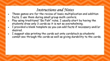 Go Fish Multiplication and Addition Games