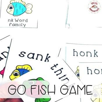 Go Fish -NG and -NK Word Family Games
