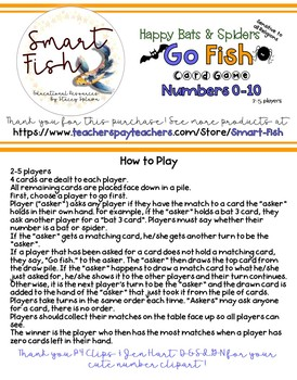 Go Fish Spiders Card Game: Number Recognition 0-10,  Number Word, Base Ten Block