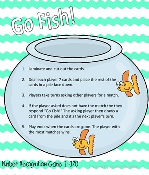 Go Fish! Number Recognition Game 1-120