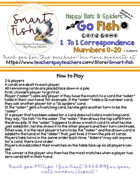 Go Fish Spiders Card Game: Numbers 0-20, Number Words & Ten Frames