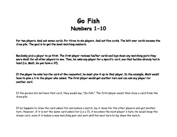 Go Fish Numbers 1 to 10