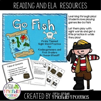 Literacy Center Game - Go Fish - Pirate Themed Dolch Sight Word Game
