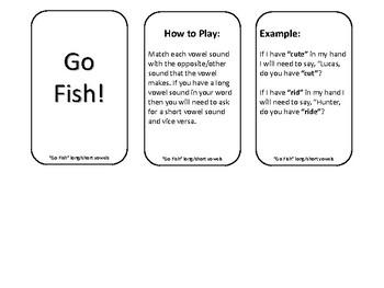 Go Fish Short/Long Vowel Match