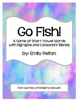 Go Fish!  A Game of Short Vowel Words w/ Digraphs and Cons
