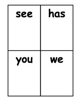 Go Fish Sight Word Cards