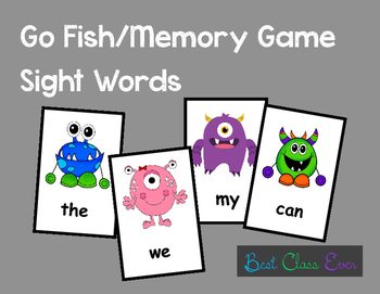 Go Fish Sight Word Literacy Game: Monsters
