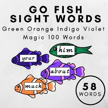 Go Fish Sight Words M100W GREEN ORANGE INDIGO VIOLET