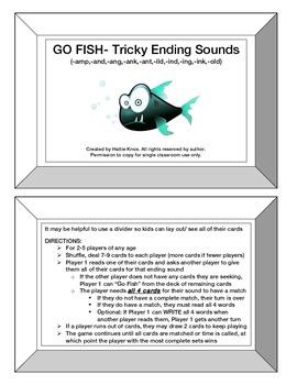 Go Fish: Tricky Ending Sounds/Blends Game- Orton Gillingham Phonics/Read/Spell
