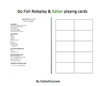 FREEBIE Go Fish card game & roleplay in Italian and Englis