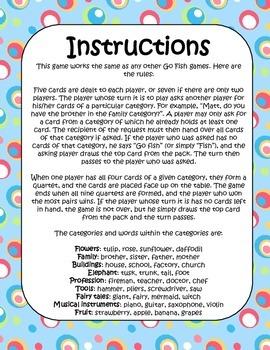 Go Fish Cardgame By Lessonsense Teachers Pay Teachers