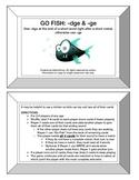 """Go Fish: -dge vs -ge for """"j"""" Game- Orton Gillingham Phonics/Reading/Spelling"""