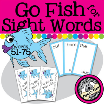 Go Fish for Sight Words Card Game - Words 51-75