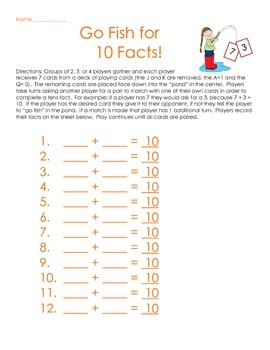 Go Fish for Tens Facts