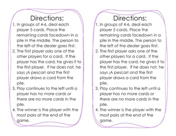 Go Fish game for Exprésate 1 Chapter 2.2 Likes and Dislikes vocabulary