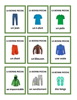 Go Fish in French or la bonne pioche, jeu, vêtements, clothing game