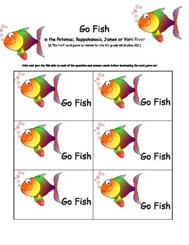 Go Fish in the Potomac - A Go Fish Card Review Game of all 28 Key SOL Virginians