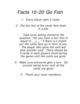 Go Fish instruction sheet