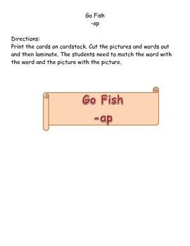 Go Fish word family ap