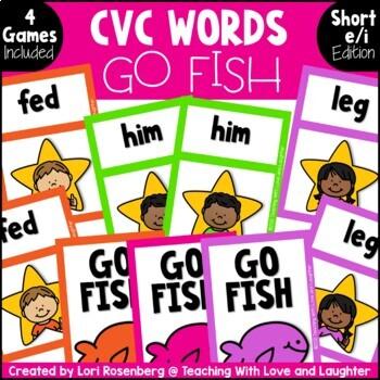 Go Fish...CVC Words {Short E and Short I}