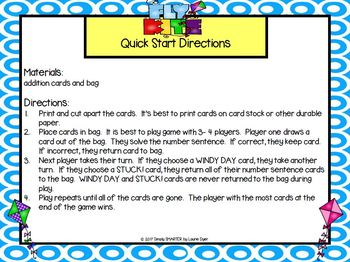 Go Fly a Kite!:  LOW PREP Addition Card Game