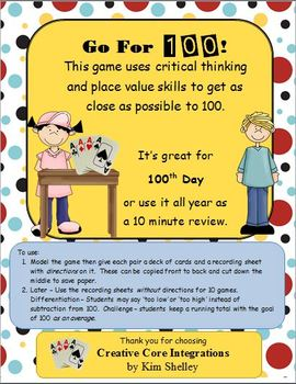 Go For 100!  100th Day and Everyday Game!
