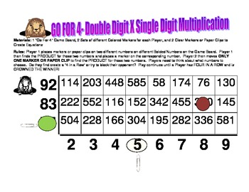 Go For 4- A Double Digit X Single Digit Multiplication Strategy Game