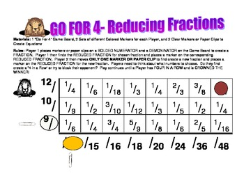 Go For 4- A Reducing Fractions Game