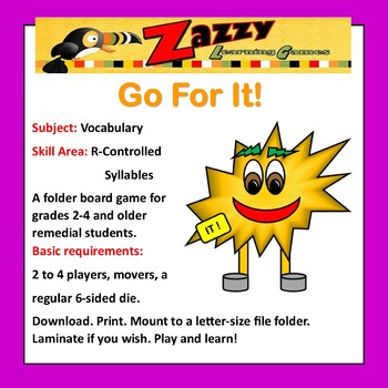 Go For It! Folder Game Vocabulary R-Controlled Syllables