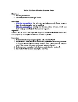 Go For The Gold Adjective Game- Lesson Plan Included