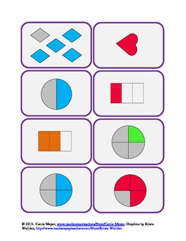 Go Fractions Game: Matching Fraction Pictures, Words, Numbers