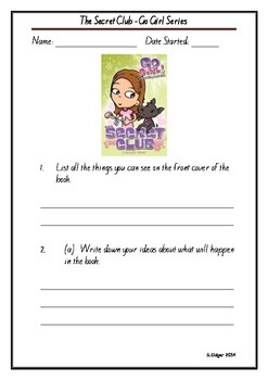 Go Girl The Secret Club Individual or Group Reading Rotations Comprehension book