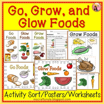 Go, Glow and Grow Foods - Sorting Activity, Worksheet and Posters