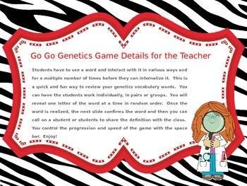 Go Go Genetics Vocabulary Building Game for Power Point