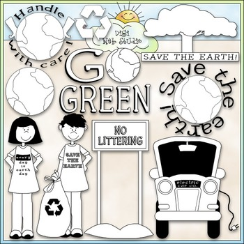 Go Green Clip Art - Earth Day Clip Art - Recycle - CU Clip Art & B&W