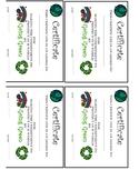 Go Green Earth Day Certificates  Rewards