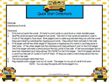 LOW PREP Rhyming Words Back to School Themed Card Game