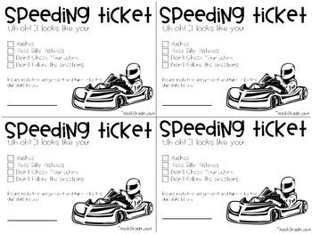 Go Kart Speeding Ticket for Messy Work