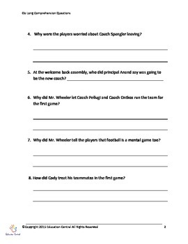 Comprehension Questions for Go Long! by Tiki and Ronde Barber
