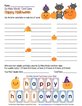 Go Make Words!  Happy Halloween - Activity Sheet - Holiday FUN!
