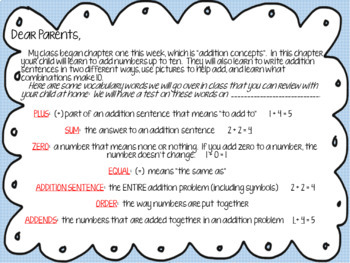 """Go Math 1st Grade """"Addition Concepts""""  WORD WALL PACKET NO PREP"""