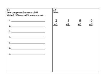 Go Math 1st Grade Chapter 2 Problem of the Day Worksheets and Assessment Tool