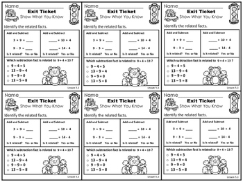 Go Math 1st Grade Exit Tickets – Chapter 5: Addition & Subtraction Relationships