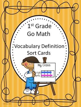 Go Math 1st Grade Journal Vocabulary Sort Cards