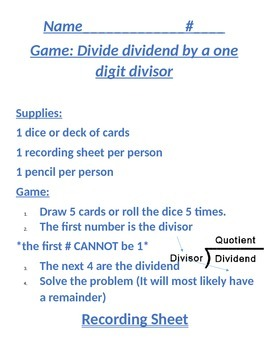 Go Math 2.1 Game: Divide dividend by a one digit divisor