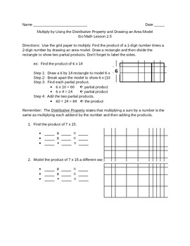 Go Math 2.5 Distributive Property Area Model Worksheet