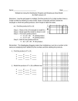 Go Math 2.5 Distributive Property Area Model Worksheet