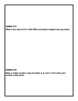 Go Math 2nd Grade Ch.2 Math Journals