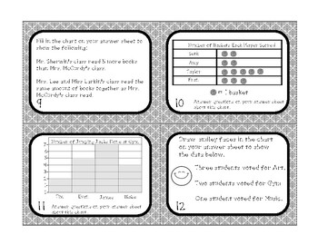 Go Math 2nd Grade Chapter 10 Collect and Display Data Task Cards